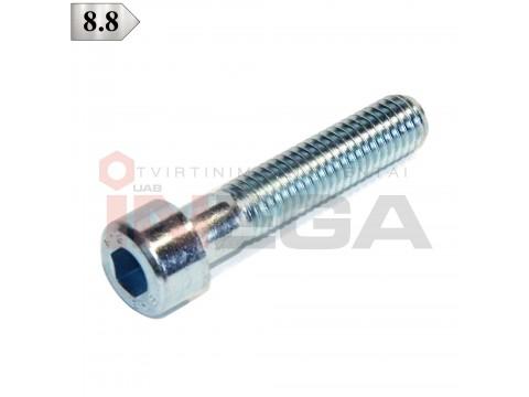 Varžtai cilindrine galvele, vidiniu šešiakampiu DIN912/ISO4762, daliniu sriegiu, plienas, 8.8 klasė, cinkuoti