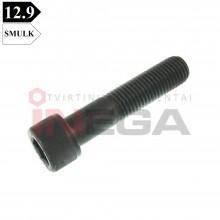 Varžtai cilindrine galvele, vidiniu šešiakampiu DIN912/ISO21269, metriniu smulkiu, daliniu sriegiu, plienas, 12.9 klasė, be padengimo