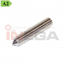 Fiksavimo varžtai DIN914/ISO4027, metriniu standartiniu sriegiu, nerūdijantis plienas A2