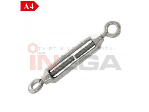 Lyno - troso įtempėjai, kilpa-kilpa DIN1480, nerūdijantis plienas A4