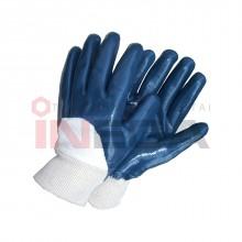 Pirštinės medvilninės, nitrilu dengtu delnu (t.mėlynos)