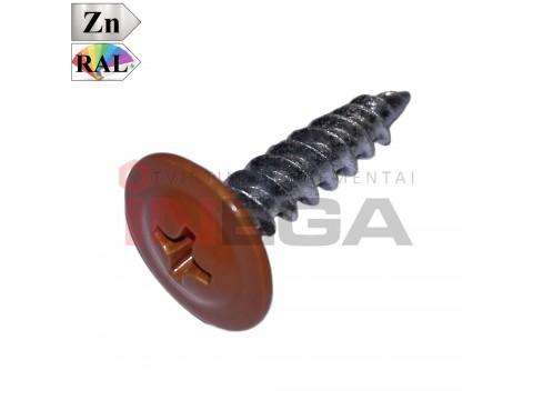 Spalvoti sraigtai metalinių profilių tvirtinimui, plienas, cinkuoti