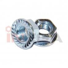 Šešiakampės veržlės su sijonėliu DIN6923/ISO4161, plienas, 8 klasė, cinkuotos