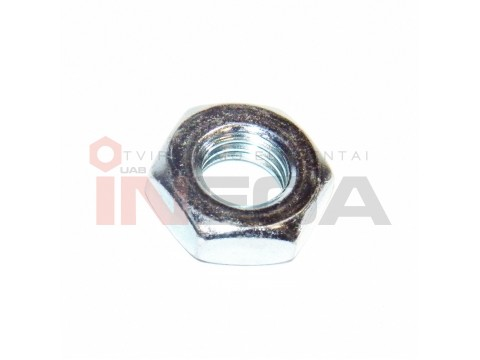 Šešiakampės plonos veržlės DIN439, metriniu kairiniu sriegiu, plienas, 04 klasė, baltai cinkuotos