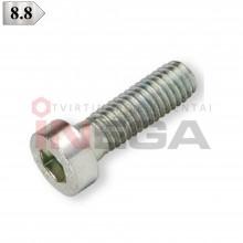 Varžtai žema cilindrine galvele, vidiniu šešiakampiu DIN7984, metriniu standartiniu sriegiu, plienas, 8.8 klasė, baltai cinkuoti