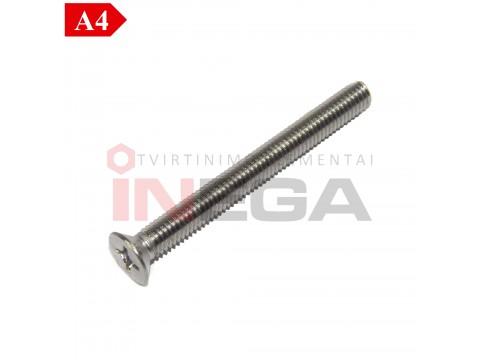 Varžtai įleidžiama galvele, PH įsukimu DIN965, nerūdijantis plienas A4