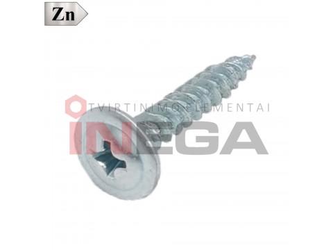 Sraigtai metalinių profilių tvirtinimui, plienas, cinkuoti