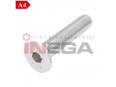 Varžtai įleidžiama galvele, vidiniu šešiakampiu DIN7991/ISO10642, pilnu sriegiu, nerūdijantis plienas A4-70